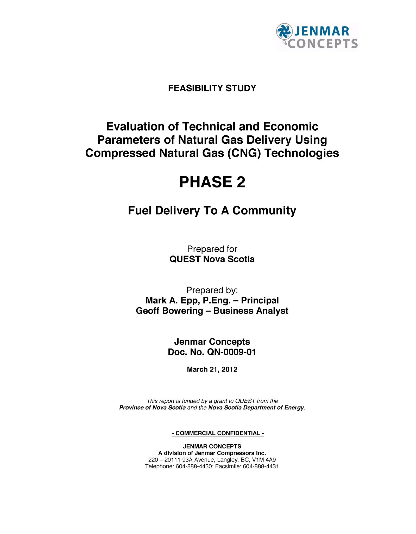 Feasibility Study: Compressed Natural Gas in NS (Phase 2)