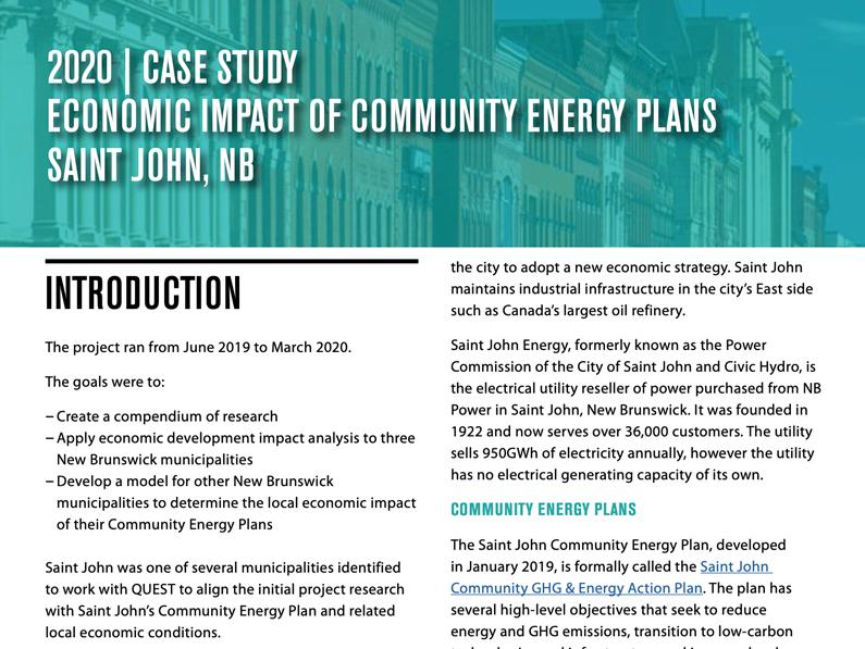 Saint John Case Study: Economic Impact of New Brunswick Community Energy Plans