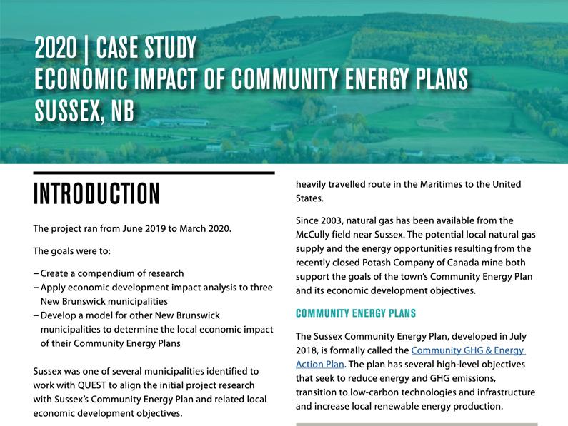 Sussex Case Study: Economic Impact of New Brunswick Community Energy Plans